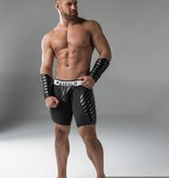 Maskulo Fetish Shorts with codpiece,& thigh pads black