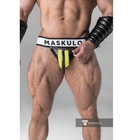 Maskulo Fetish Jock strap with detachable codpiece black/yellow