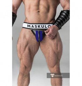Maskulo Fetish Jock strap with detachable codpiece black/blue