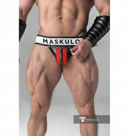 Maskulo Fetish Jock strap with detachable codpiece black/red