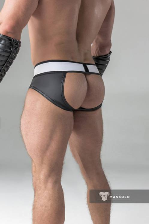 Maskulo Fetish Briefs with codpiece and open rear black