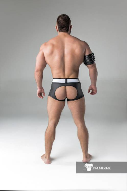Maskulo Fetish Trunks with codpiece and open rear black