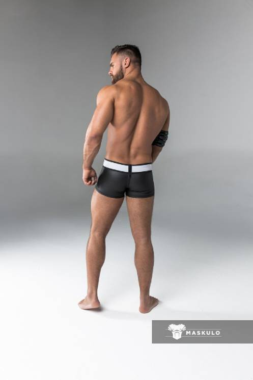 Maskulo Fetish Trunks with codpiece and rear zip black