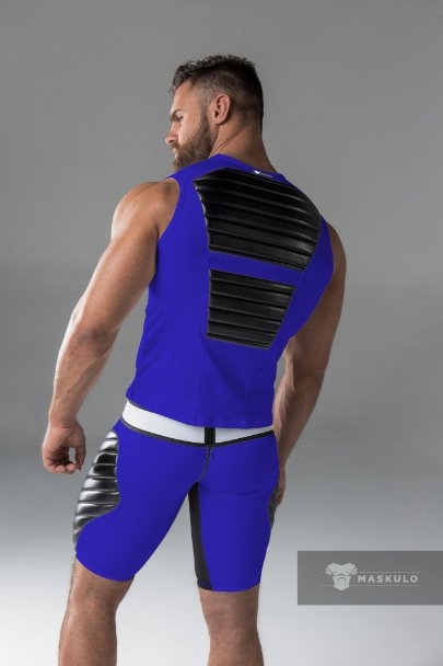 Maskulo Fetish Spandex Tank Top with front and back pads Blue with Black