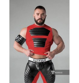 Maskulo Fetish Spandex Tank Top with front and back pads Red with Black
