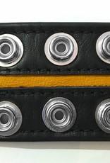 RoB Leren Bicepsband 50 mm breed zwart/geel met drukknopen