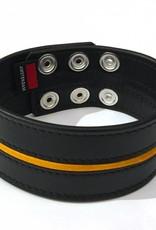 RoB Leder Bicepsband 50 mm breit Schwarz/Gelb mit Druckknöpfen