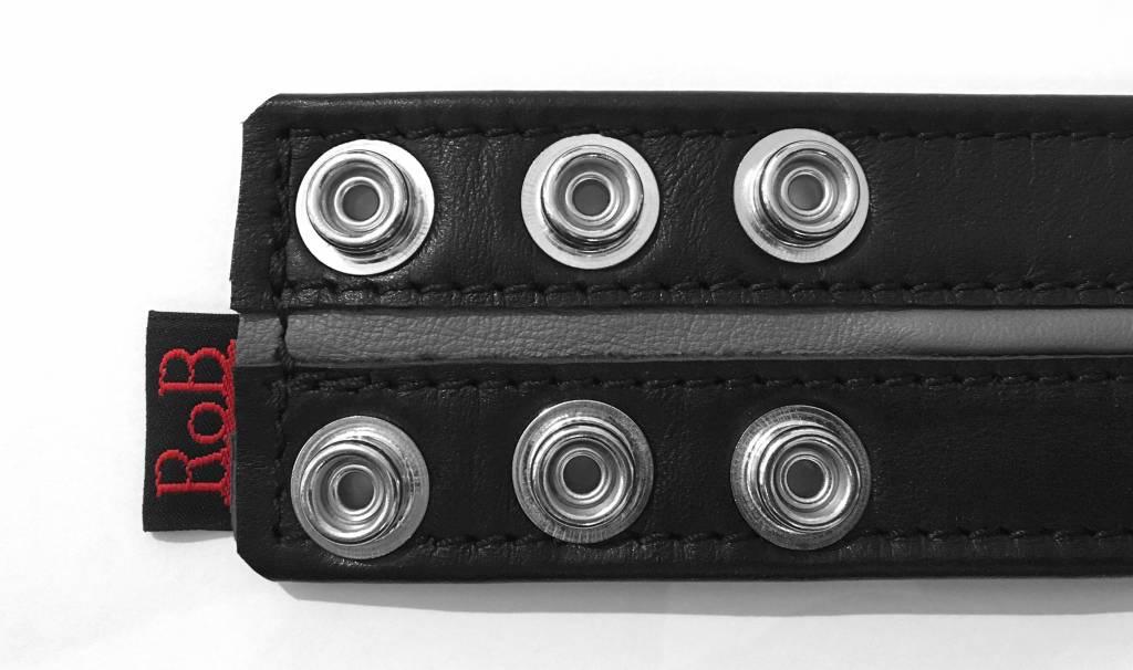RoB Leder Bicepsband 50 mm breit Schwarz/Grau mit Druckknöpfen