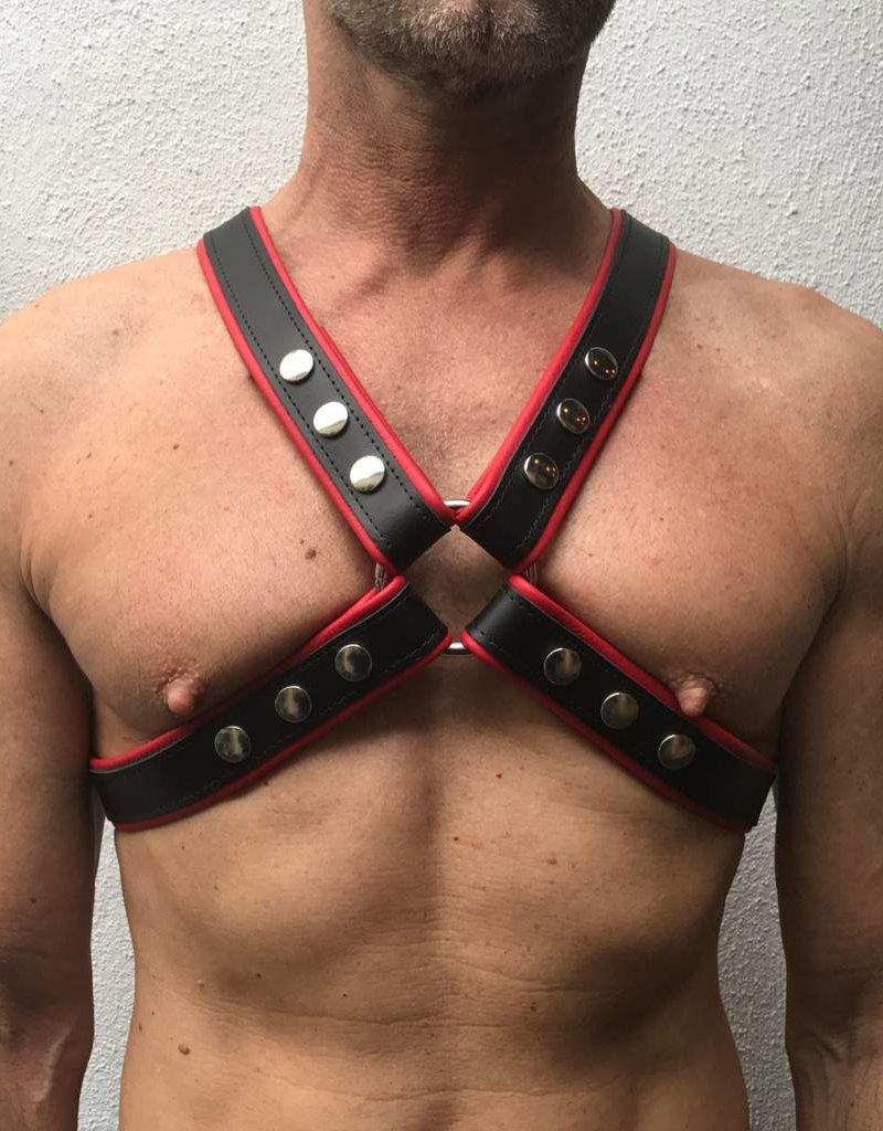RoB 4-Strap Harness schwarz mit roten Piping