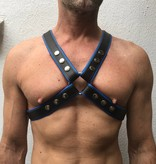 RoB 4-Strap Harness schwarz mit blauen Piping