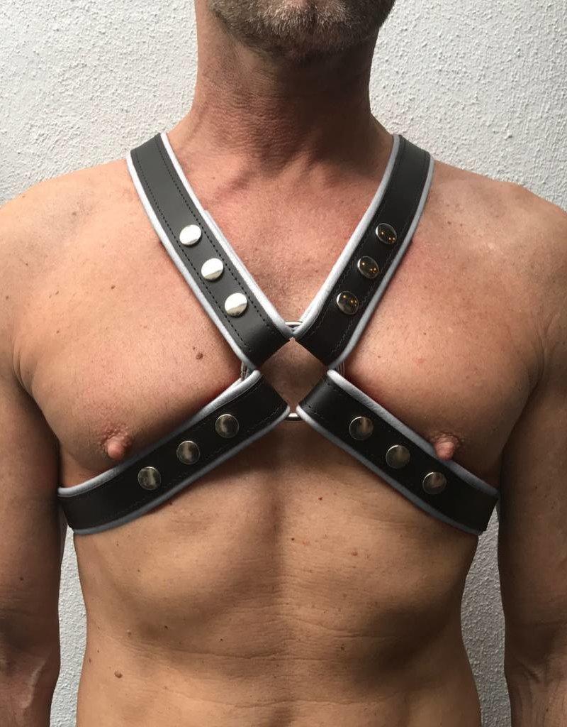 RoB 4-Strap Harness schwarz mit weissen Piping