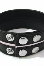 RoB Leren Bicepsband 50 mm breed zwart/wit met drukknopen