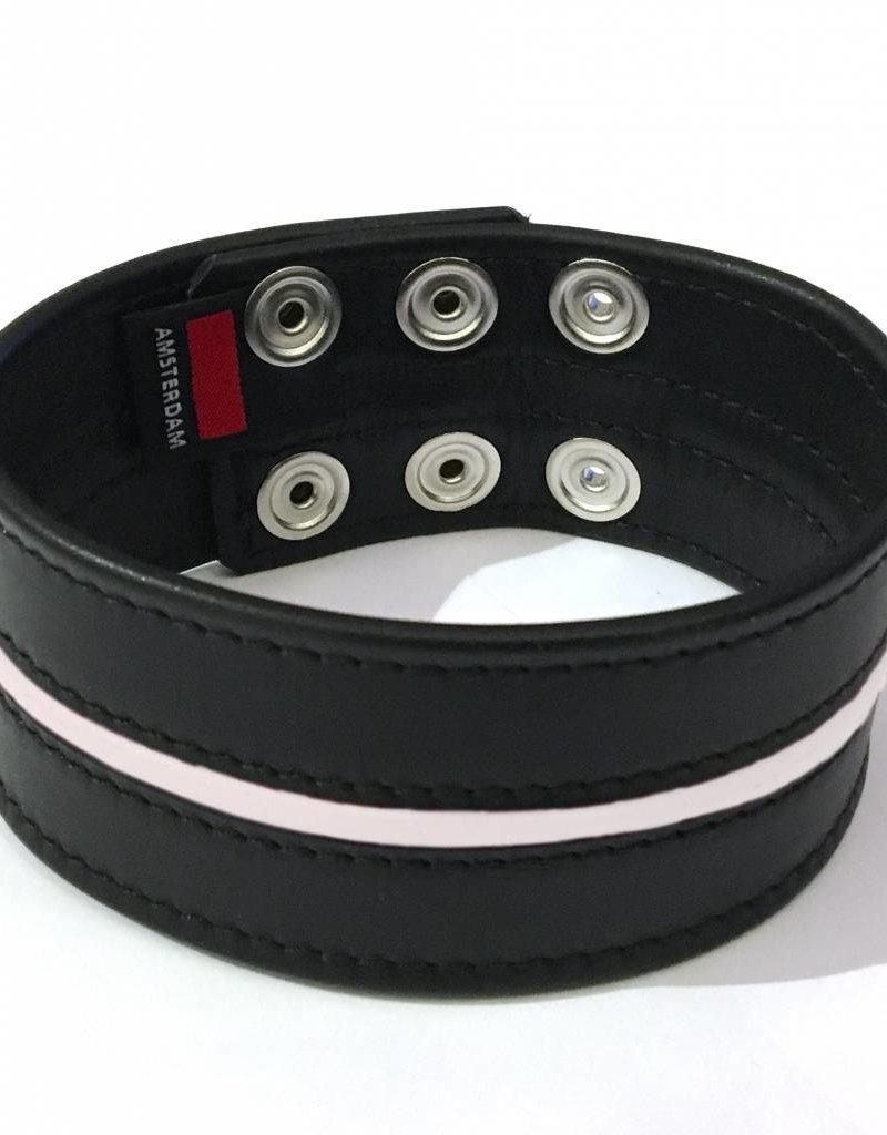 RoB Leder Bicepsband 50 mm breit Schwarz/Weiß mit Druckknöpfen