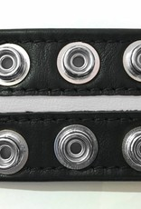 RoB Leather Bicepsband Black 50 mm wide with White Piping and Press Studs
