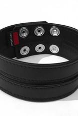 RoB Leder Bicepsband 50 mm breit Schwarz/Schwarz mit Druckknöpfen