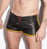 RoB Leather Sport Shorts with yellow stripes