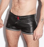RoB Leather Sport Shorts with grey stripes