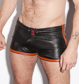 RoB Leren Sport Shorts met oranje strepen