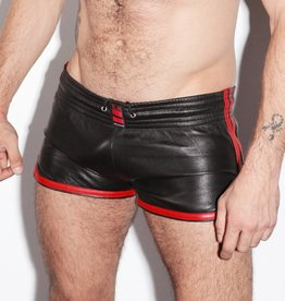 RoB Leather Sport Shorts with red stripes