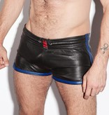 RoB Leather Sport Shorts with blue stripes