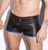 RoB Leren Sport Shorts met blauwe strepen