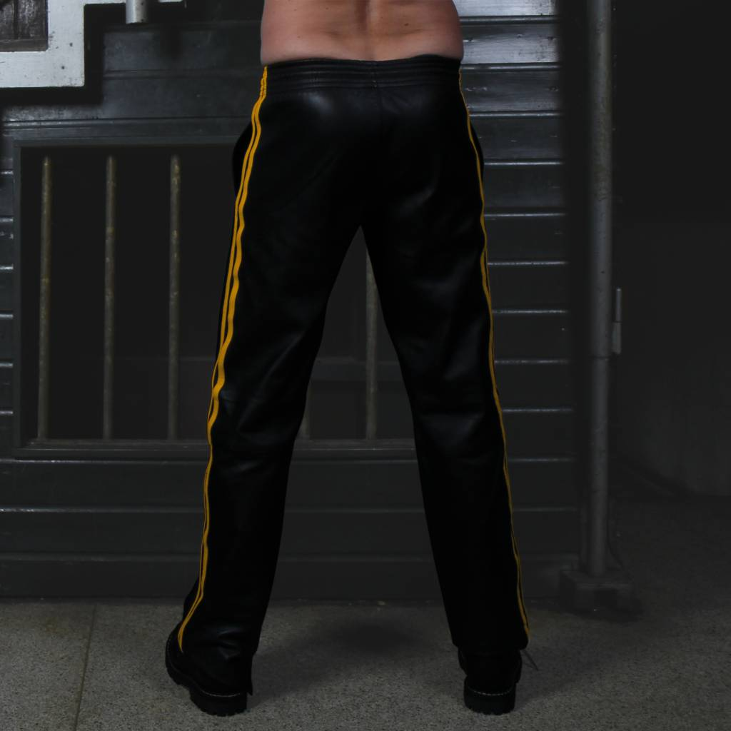 RoB Soft Leather Black Trackpants with Yellow Stripes