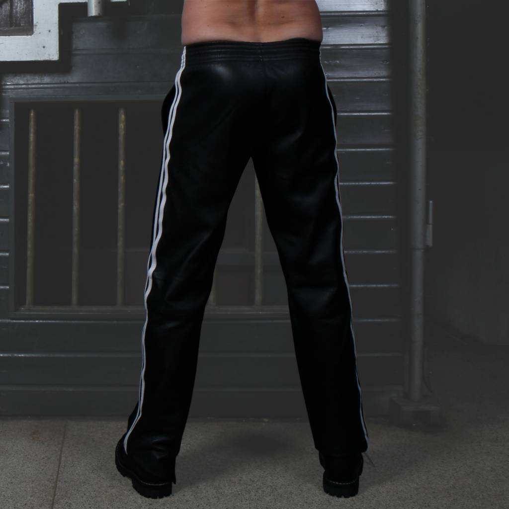 RoB Soft Leather Black Trackpants with White Stripes