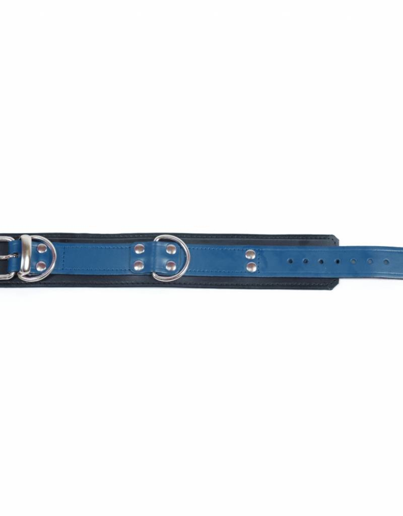 RoB Leather Slave Collar Blue on Black