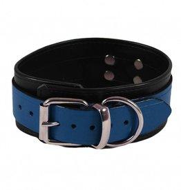 RoB Leder Sklaven Halsband Blau auf Schwarz
