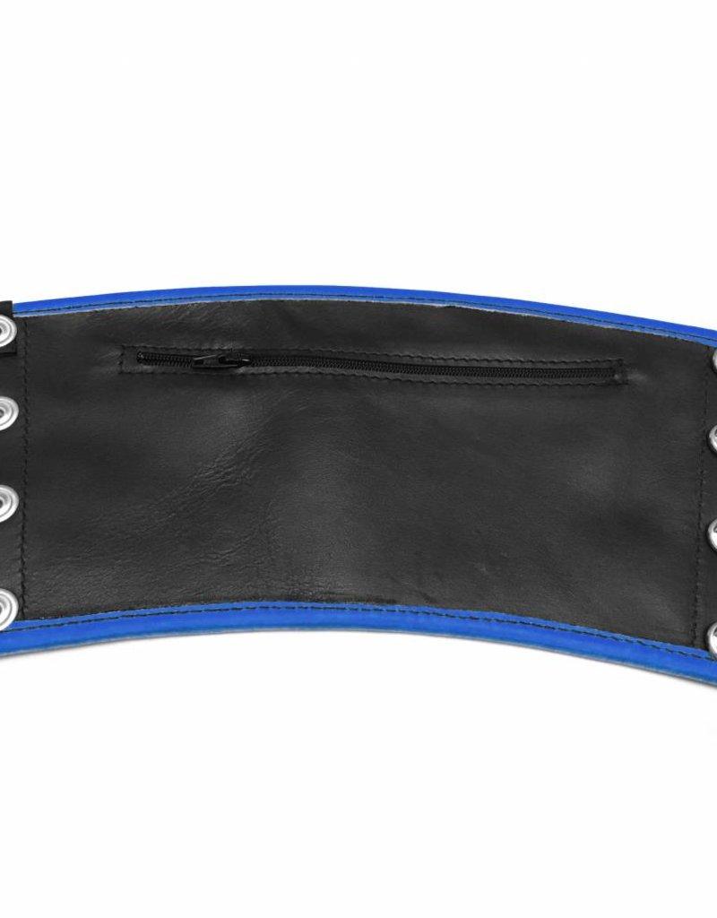 RoB Leren Gauntlet Wrist Wallet met blauwe bies
