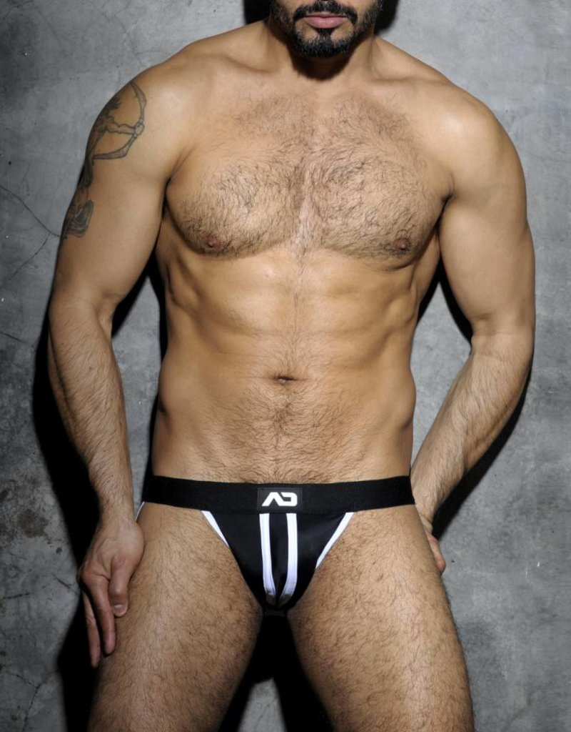 Addicted Stripe Fetish Jockstrap Black/White