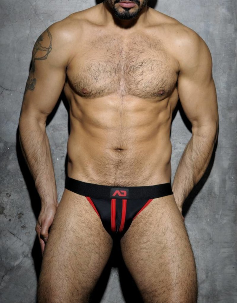 Addicted Stripe Fetish Jockstrap Black/Red