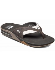 Reef slipper leather fanning white/brown