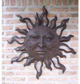 Muurdecoratie brons zon zeer groot