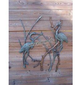 Muurdecoratie brons reigers