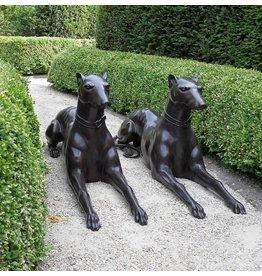 Paar liegend Hunde in bronze