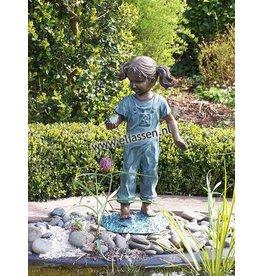 Eliassen Bild Bronze Mädchen mit Vogel in der Hand