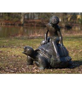 Bild Bronze Junge auf Schildkröte