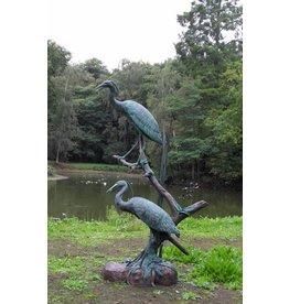 Sprühfigur Bronze Reiher Paar