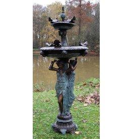 Fontein brons met duiven