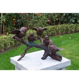 Eliassen Beeld brons 5 vogels op tak