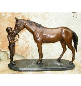 Eliassen Skulptur Bronze Pferd mit einem Führer