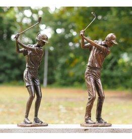 Beeld brons golfer dame of man