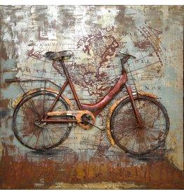 3D schilderij metaal 100x100cm Biking The World