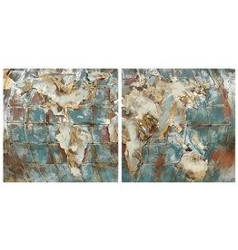 Eliassen 3D-Malerei Metall 90x90cm Globus doppelt ausgeführt