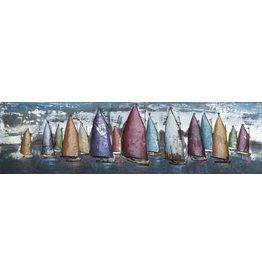 3D schilderij metaal 50x180cm Sailing