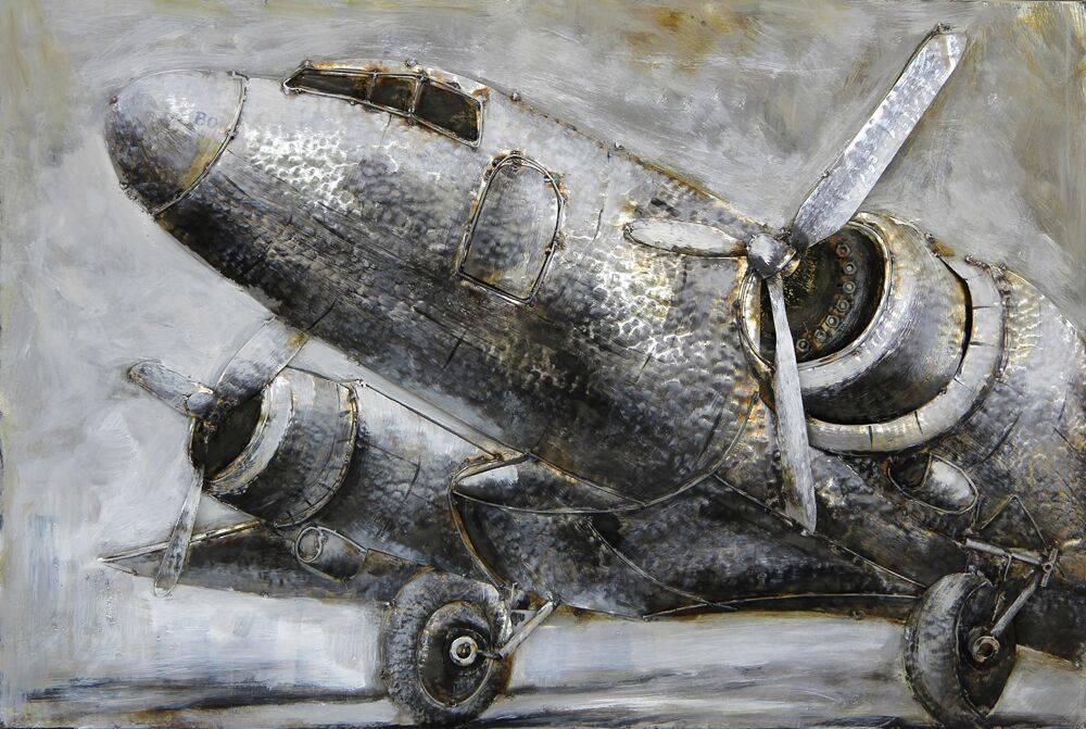 Eliassen 3D-Malerei Metall 120x80x7cm Flugzeug