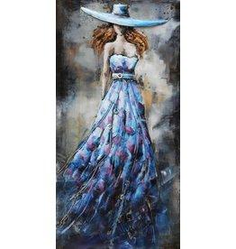 3D schilderij metaal 70x140x7cm Dame Blauw