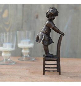 Eliassen Beeld brons meisje staand op stoel