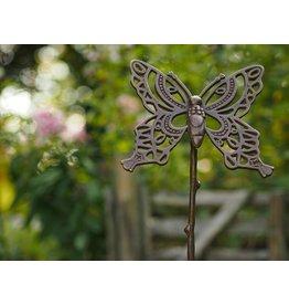 Tuinsteker brons vlinder op een stok